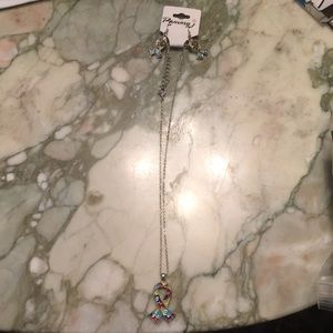 Autism Awareness necklace and earrings set
